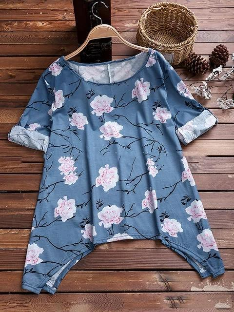 Women Floral Shirts Long Sleeve Crew Neck Casual Shirts
