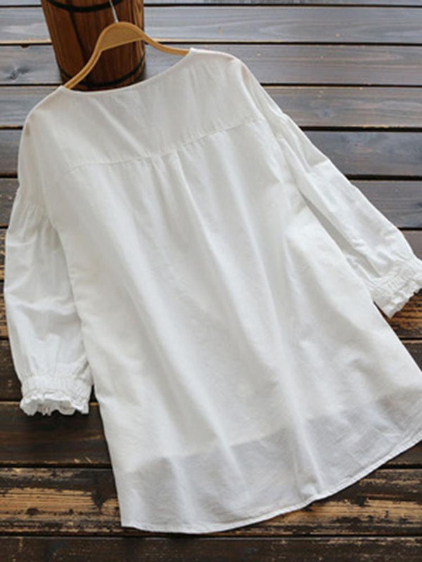 Embroidery Round Collar Pure Cotton Shirt