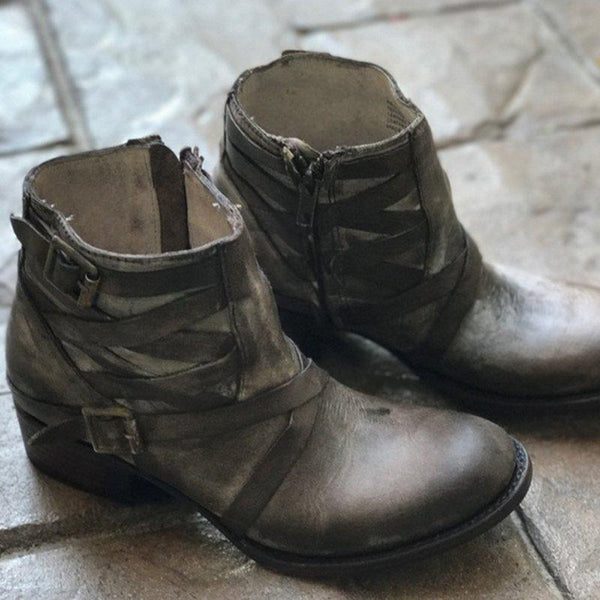 Women Vintage Ankle Boots Casual Buckle Boots