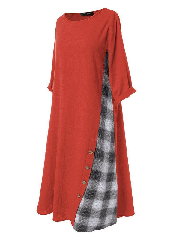 Casual Patchwork Button High Low Hem Plus Size Dress