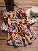 Folk Style Print Embroidery Patchwork Hollow Vintage T-shirts