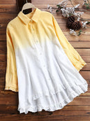 Lace Ombre Short Sleeve Button Casual Blouse