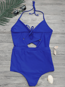 Cut Out Cross Front One Piece Swimsuit