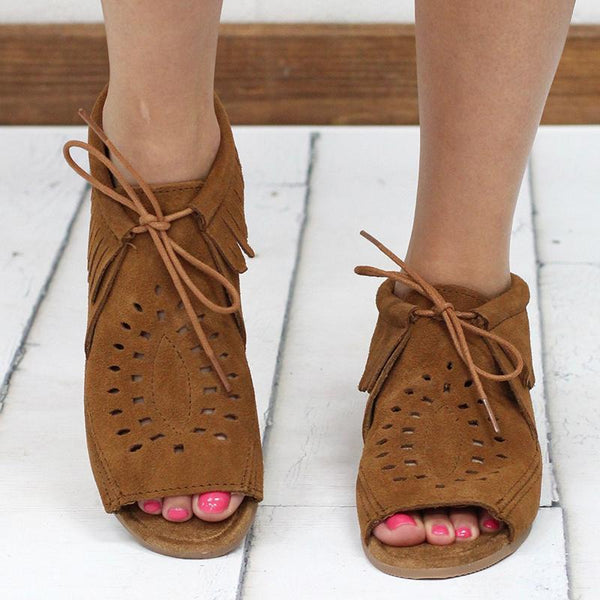 Women Casual Flat Peep Toe Booties