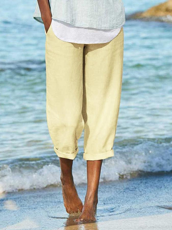 Cotton Solid Casual Pants
