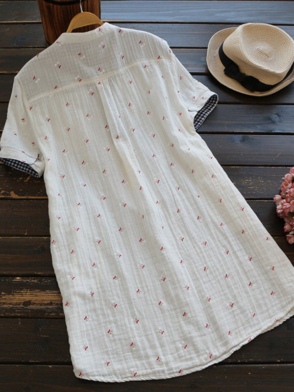 Casual V-neck print blouse with short sleeves for women
