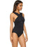 Women's One Piece Cross front Backless Swimsuit with Pad