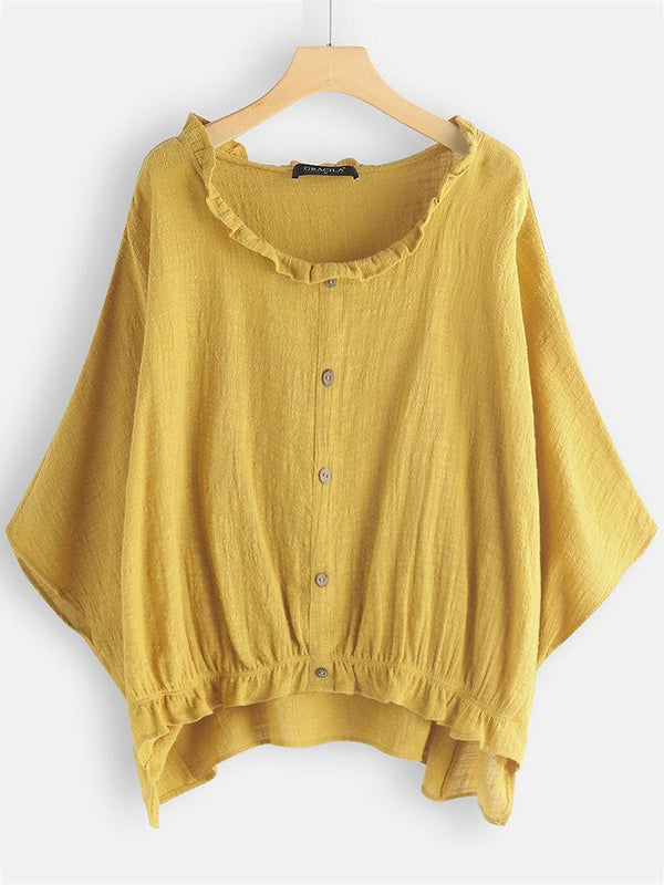 Lace Collar Batwing Short Sleeve Casual Overhead Shirt