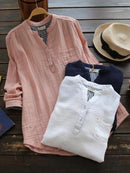 Solid Color Long Sleeve Cotton Yarn Shirt