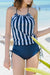 Tie CollarBacklessStriped One Piece