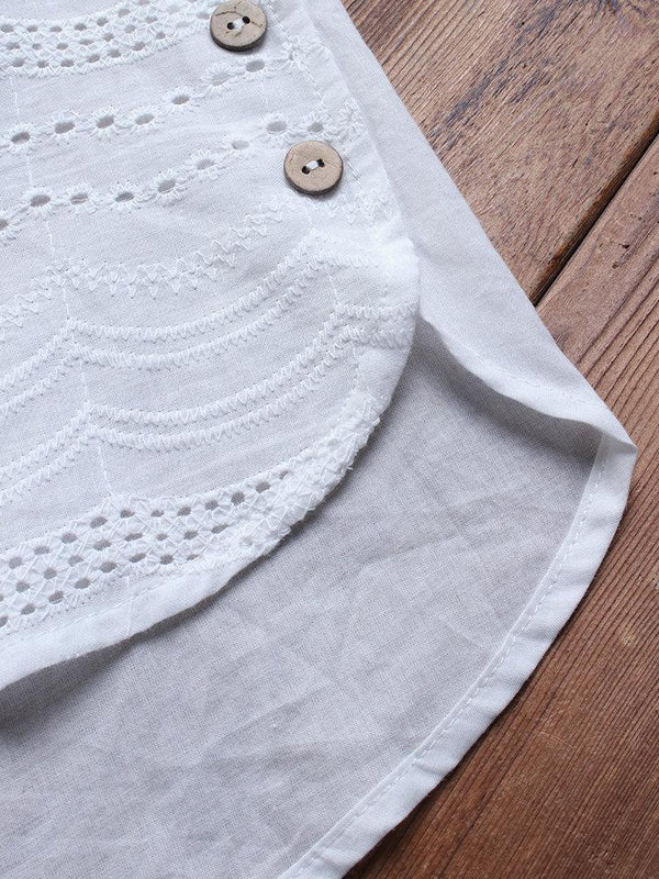 Bohemian Embroideried Short Sleeve Button Blouse
