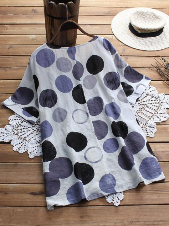 Round Neck Loose Fitting Dot Blouses