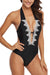 Sheinlove Halter Neck Lace Panel Black One Piece Swimwear