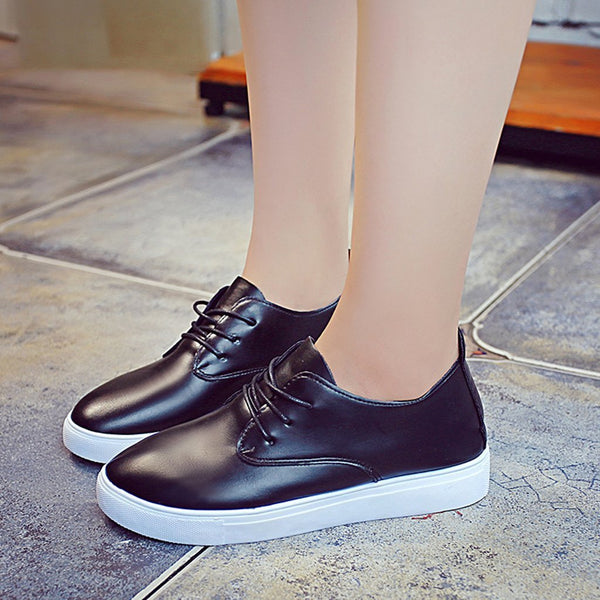 Round Head Solid Color Flat Shoes