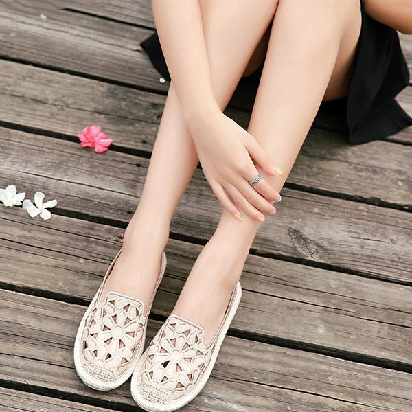 Embroidered Canvas Shoes Women's Woven Flat Bottom Shoes