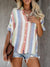 Casual Lapel Color Striped Short-Sleeved Shirt
