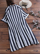 Print Striped Short Sleeve Pockets High Low Casual Blouse