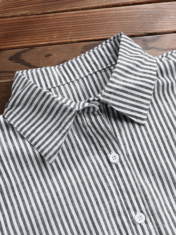 Casual Striped Lapel Button Plus Size Shirt for Women