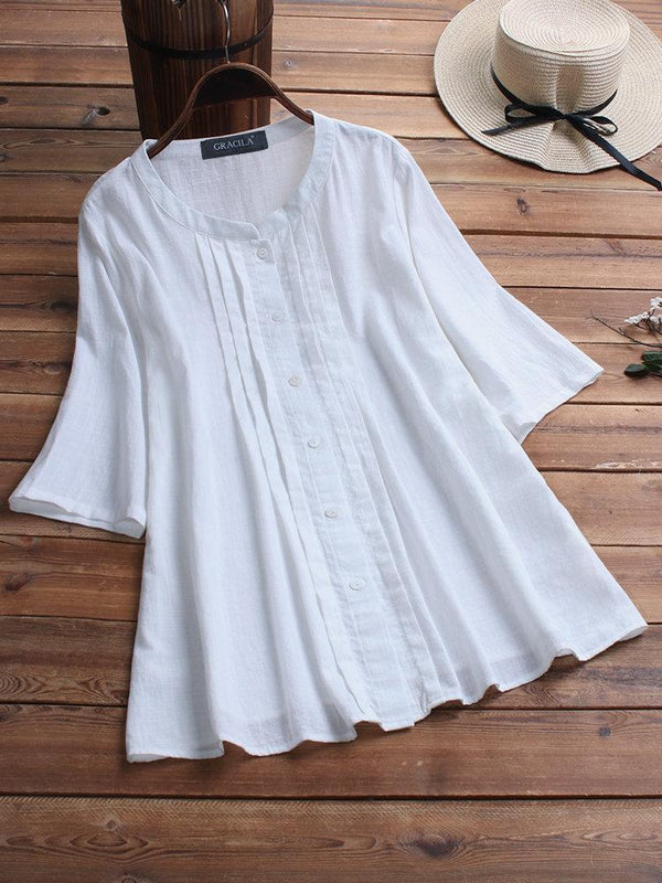 Pleated Solid Color Short Sleeve Casual Blouse