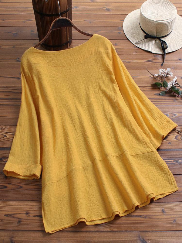 Vintage Solid Color Long Sleeve Crew Neck Pocket Blouse