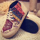 Vintage Colorful Pattern Lace Up Canvas Boots - fashionnana