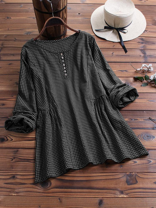 Women Vintage Plaid Long Sleeve Button Casual Blouse