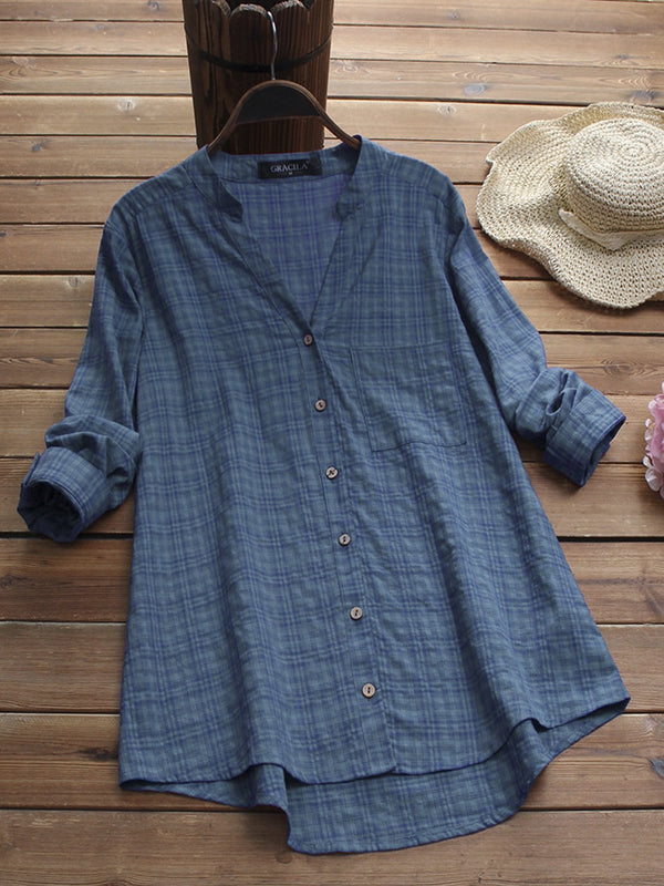 Long Sleeve Gingham V Neck Vintage Blouses