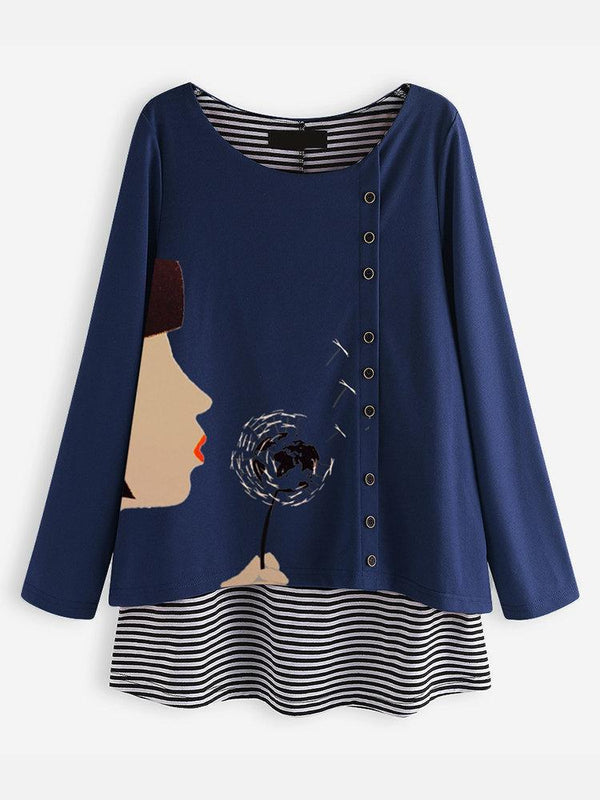 Fake Two Pieces Cartoon Stripe Long Sleeve Blouse For Women