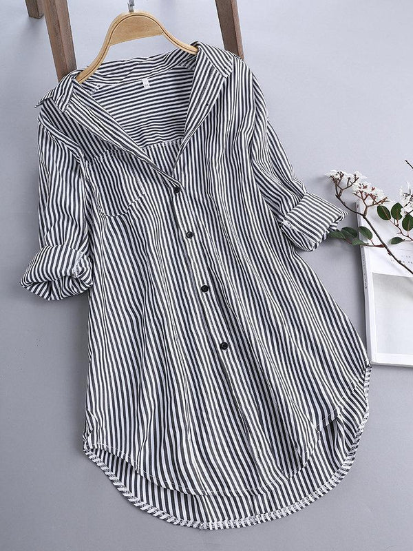 Chic Stripe Long Sleeve Turn-down Collar Loose Shirts