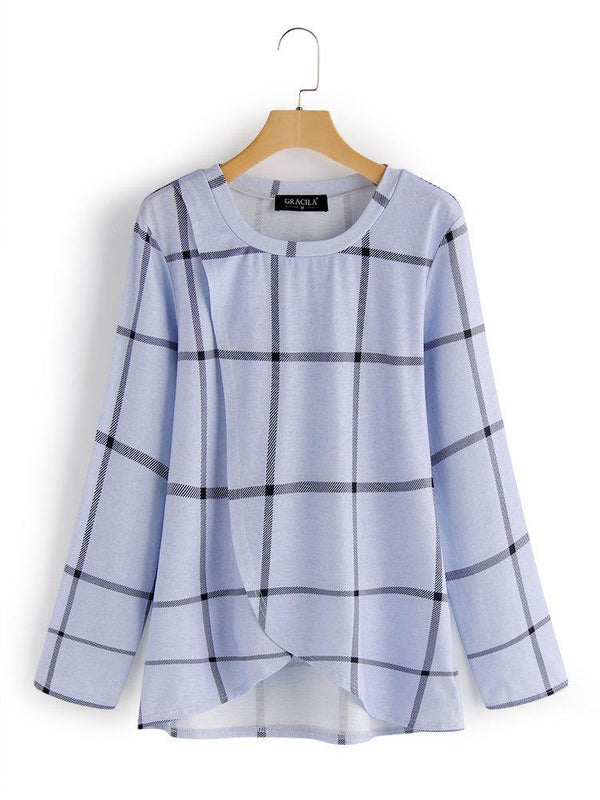 Print Plaid Asymmetrical Hem Long Sleeve T-shirt