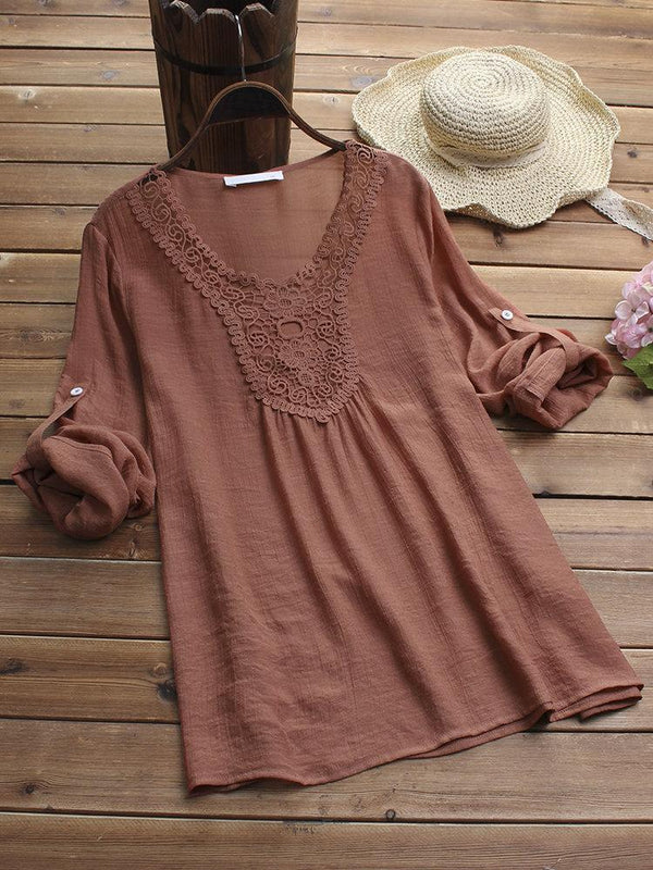 Hollow Lace Neck Adjustable Long Sleeve Pullover Blouse