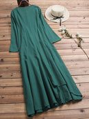 Women Vintage Cotton Tunic Baggy Long Sleeve Maxi Dress