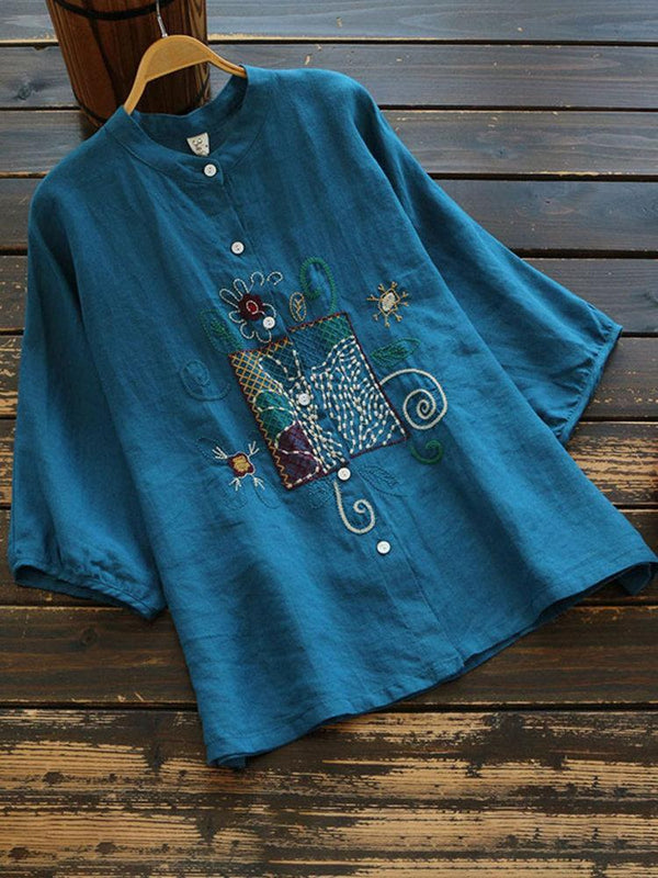 Vintage Embroidery Flowers Button 3/4 Sleeve Blouse