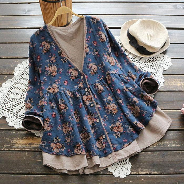 Retro Lace Printed V-neck Shirt