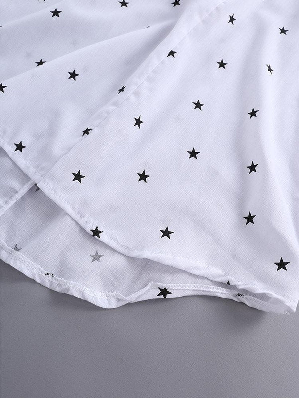 Star Printing 3/4 Sleeve V-Neck Irregular Loose Shirts