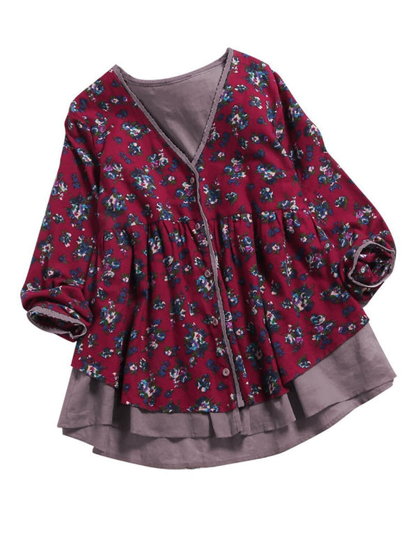 Fake Two Pieces V Neck Floral Casual Blouse