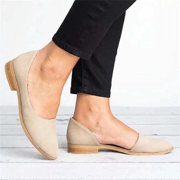 Large Size Side Cutout Low Heel Shoe