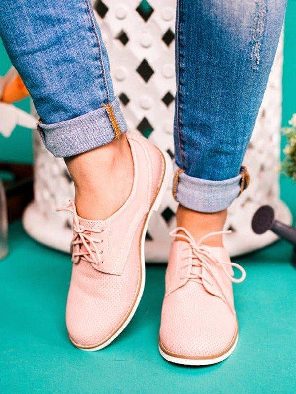 Daily Low Heel Oxford Shoes Lace-up Faux Leather Loafers