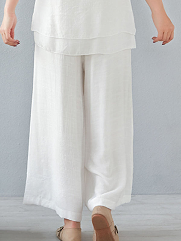Gathered Casual Solid Sleep Pants