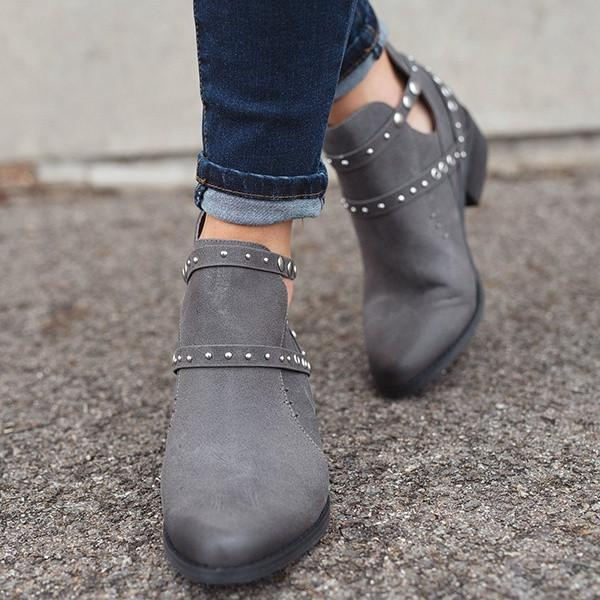 Comfort Rivets Ankle Boots Women Zip Side Boots