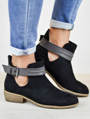 Adjustable Buckle PU Plus Size Ankle Boots