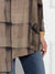 Women Plus Size Round Neck Long Sleeve Plaid Printed Casual Loose Blouse Top with Pockets