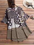 Vintage Print Patch High Low Crew Neck Half Sleeve Shirt