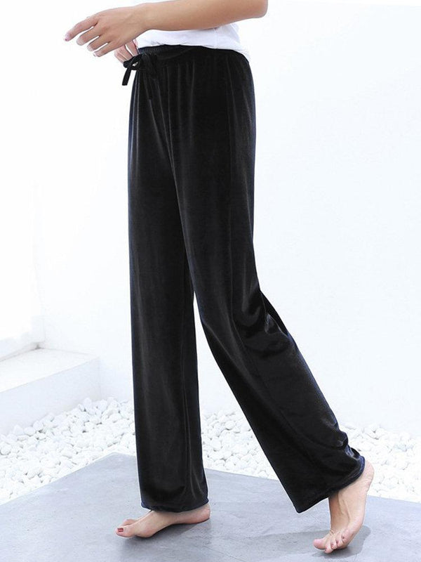 Velvet Elastic Waist Solid Color Straight Pants