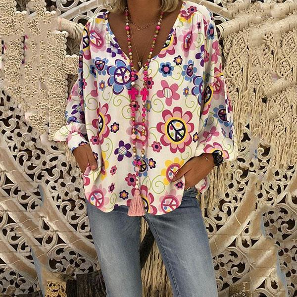 V Neck Flower Printed Loose Blouse