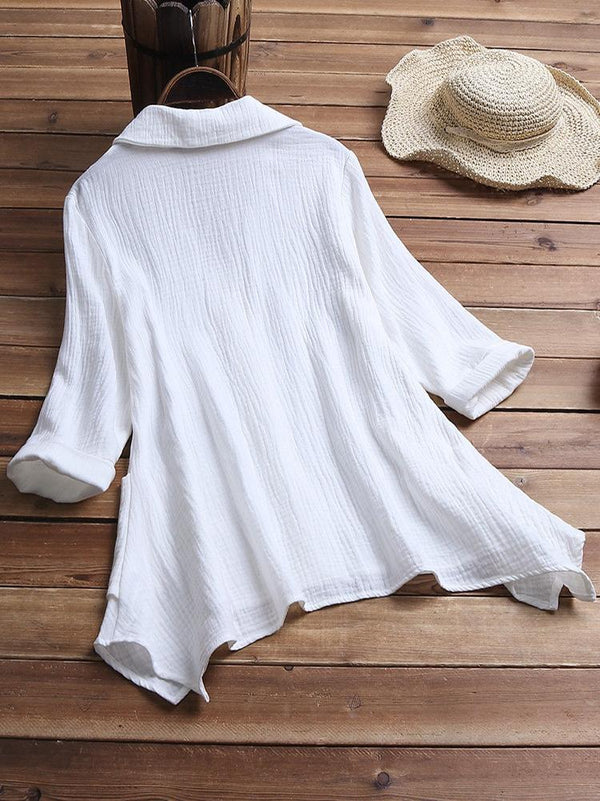 Button Down Cotton 3/4 Sleeve Blouse - seebee