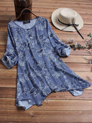 Casual Print Crew Neck Irregular Hem Plus Size Blouse