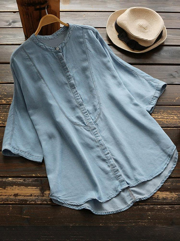 Denim Loose Solid Color Button Down Shirt