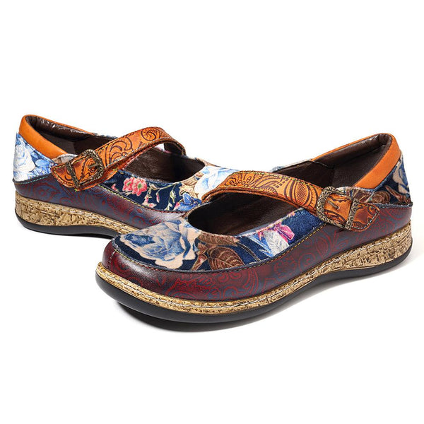 Retro Genuine Leather Splicing Printing Flowers Pattern Stitching Hook Loop Flat Shoes