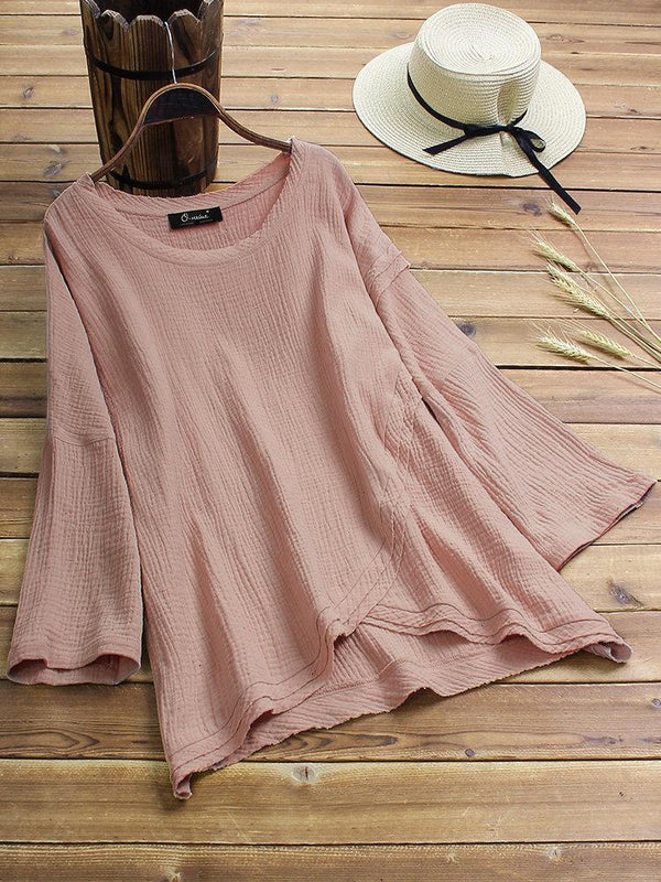 Vintage High Low Hem Solid Color Crew Neck Plus Size Blouse